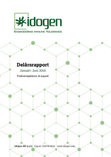 Idogen offentliggör delårsrapport för perioden Januari-Juni 2016