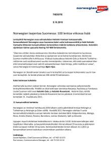 Norwegian laajentaa Suomessa: 100 lentoa viikossa lisää