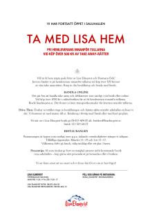 Lisa Elmqvist bjuder på hemleverans av take away vid köp över 500 kr