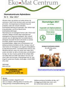 Ekomatcentrums nyhetsbrev 2017 nr 3