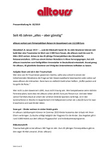 """Seit 45 Jahren """"alles – aber günstig"""" - alltours verlost zum Firmenjubiläum Reisen im Gesamtwert von 112.500 Euro"""