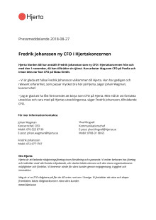 Fredrik Johansson ny CFO i Hjertakoncernen
