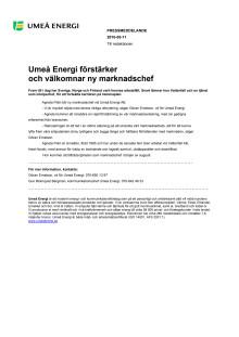 Umeå Energi förstärker och välkomnar ny marknadschef