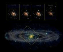 Nyupptäckt svart hål frossar i materia