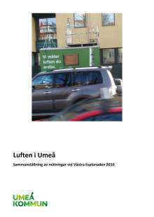Luften i Umeå -Sammanställning av mätningar vid Västra Esplanaden 2016