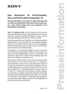 Gute Nachrichten für Profi-Fotografen:  Sony und Profoto stellen Kooperation vor