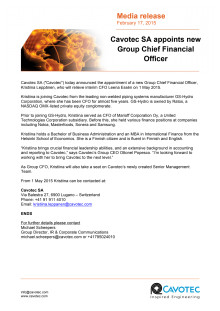 Cavotec SA appoints new Group Chief Financial Officer