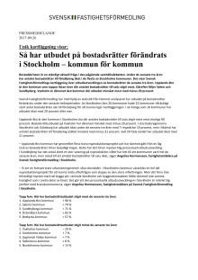 Unik kartläggning visar: Så har utbudet på bostadsrätter förändrats  i Stockholm – kommun för kommun