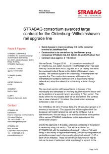 STRABAG consortium awarded large contract for the Oldenburg–Wilhelmshaven rail upgrade line