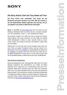 Die Sony Action Cam mit Tony Hawk auf Tour
