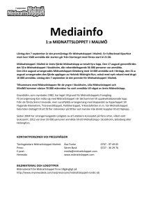 Pressinformation Midnattsloppet Malmö 2013