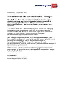 Stine Steffensen-Børke ny markedsdirektør i Norwegian
