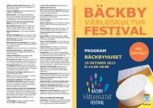 Program för Bäckby världskulturfestival 19 oktober 2013