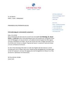 Pressemitteilung Informationstag Juniorenstufe Gymnasium Louisenlund Januar 2019