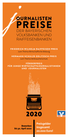 Flyer: Journalistenpreise der bayerischen Volksbanken und Raiffeisenbanken