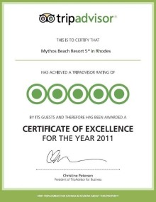 Trip Advisor hædrer Mythos Beach med award
