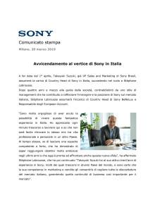 Avvicendamento al vertice di Sony in Italia