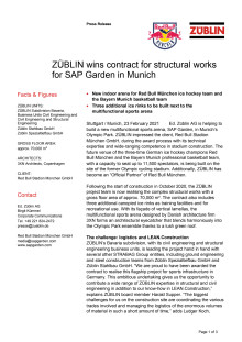 ZÜBLIN wins contract for structural works for SAP Garden in Munich