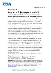 Kunder stödjer ny parkour-hall