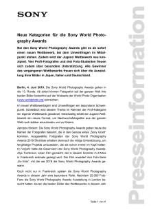 Neue Kategorien für die Sony World Photography Awards