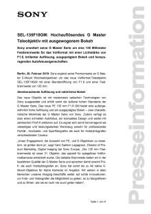 SEL-135F18GM: Hochauflösendes G Master Teleobjektiv mit ausgewogenem Bokeh