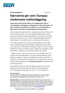 Fjärrvärme gör rent i Europas modernaste tvättanläggning