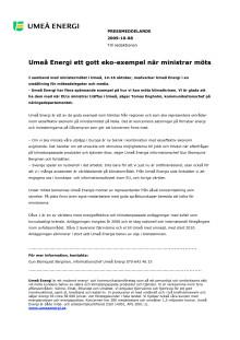 Umeå Energi ett gott eko-exempel när ministrar möts