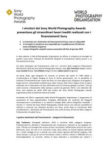 I vincitori dei Sony World Photography Awards presentano gli straordinari lavori inediti realizzati con i finanziamenti Sony
