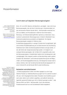 Zurich setzt auf digitalen Beratungsnavigator