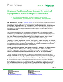 Schneider Electric redefinerer bransjen for industriell styringsteknikk med lanseringen av Prometheus
