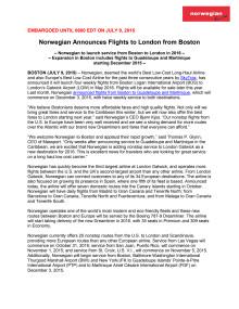 Norwegian Announces Flights to London from Boston