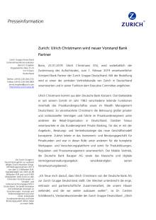 Zurich: Ulrich Christmann wird neuer Vorstand Bank Partner