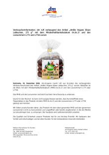 """dm ruft vorbeugend den Artikel """"dmBio Vegane Elisen Lebkuchen, 275 g"""" mit dem Mindesthaltbarkeitsdatum 04.04.21 und den Losnummern L775 und L7758 zurück"""
