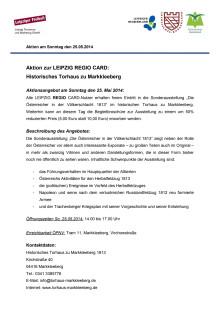 Aktionsangebot Torhaus Markkleeberg 25.04.2014