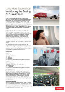 Norwegian's Long Haul Experience: Introducing the Boeing 787 Dreamliner