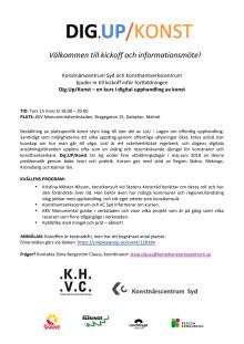 DigUp/Konst - inbjudan till kickoff i Malmö