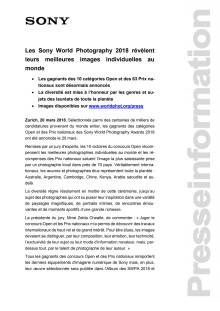 Les Sony World Photography 2018 révèlent leurs meilleures images individuelles au monde