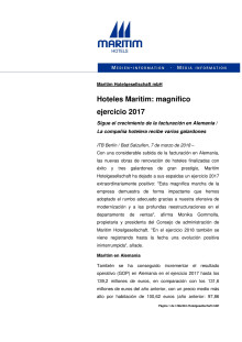 Hoteles Maritim: magnífico ejercicio 2017