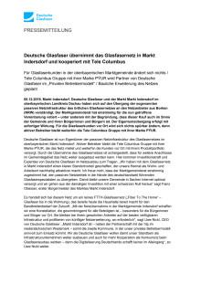 Deutsche Glasfaser übernimmt das Glasfasernetz in Markt Indersdorf und kooperiert mit Tele Columbus