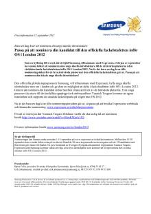 Passa på att nominera din kandidat till den officiella fackelstafetten inför OS i London 2012