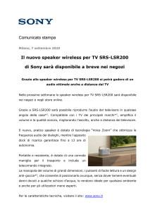 Il nuovo speaker wireless per TV SRS-LSR200 di Sony sarà disponibile a breve nei negozi