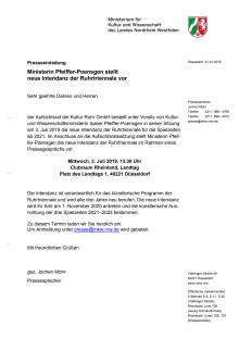 Einladung: Ministerin Pfeiffer-Poensgen stellt neue Intendanz der Ruhrtriennale vor