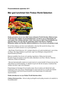 Fler goda lunchrätter från Findus World Selection