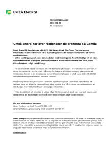 Umeå Energi tar över rättigheter till arenorna på Gammlia