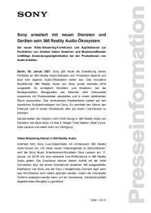 Sony erweitert mit neuen Diensten und Geräten sein 360 Reality Audio-Ökosystem
