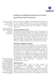 Vollkasko für intelligente Haustechnik: Zurich startet spezielle Smart Home-Versicherung