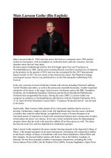 Mats Larsson Gothe – Biography in English