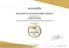 WALTHER erhält Goldmedaille von EcoVadis