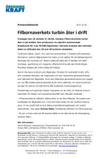 Filbornaverkets turbin åter i drift