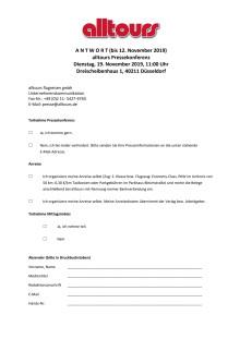 """Reminder: Einladung zur alltours Pressekonferenz """"Sommer 2020"""""""